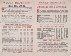Advert for Woolfe Brothers, Tailors & Clothiers, reverse side